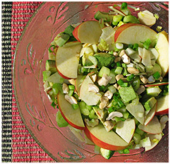 Celery-Apple-Avocado-Cashew Salad